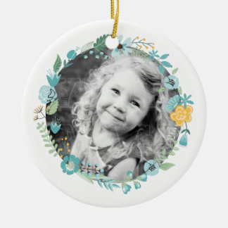 Personalised Photo Delicate Floral Wreath Christmas Ornament