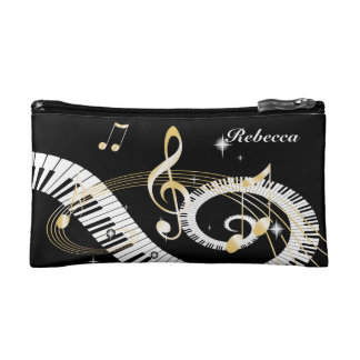 Personalised Piano Keys and Golden Music Notes Cosmetic Bag