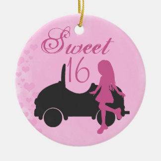 Personalised Pink and Black Car Sweet 16 Sixteen Christmas Ornament