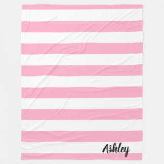 Personalised Pink and White Striped Fleece Blanket