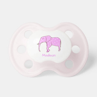 Personalised Pink Elephant White Dots Pacifiers