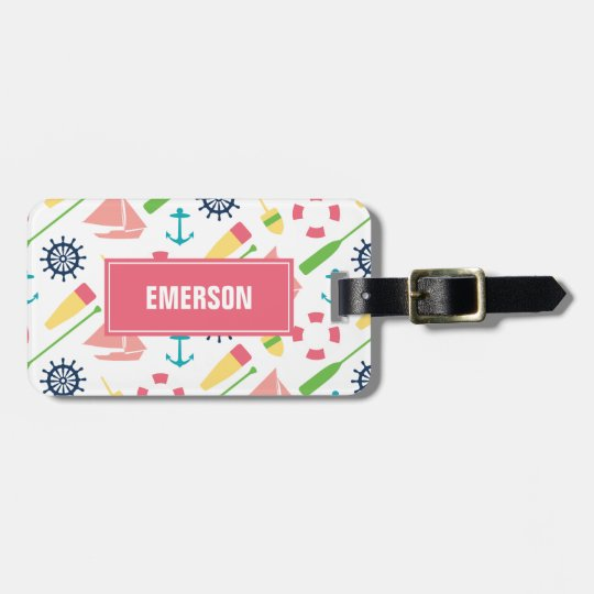 Personalised Preppy Nautical Pattern Girl Luggage Tag