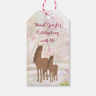 Personalised Pretty Mare, Foal and Flowers Horse Gift Tags