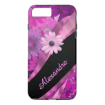 Personalised pretty pink floral pattern iPhone 7 plus case