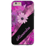 Personalised pretty pink floral pattern tough iPhone 6 plus case