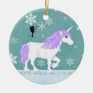 Personalised Purple and White Unicorn and Fairy Christmas Ornament