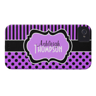 Personalised Purple, Black Striped Polka Dots iPhone 4 Case