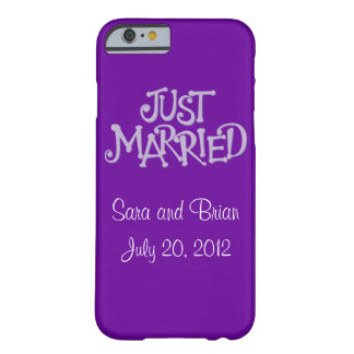 Personalised Purple Just Married iPhone 6 case Barely There iPhone 6 Case