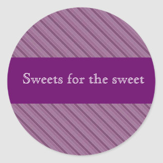 Personalised purple stripe stickers for lolly tins