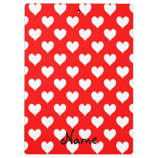 Personalised Red and White Heart Pattern Clipboard