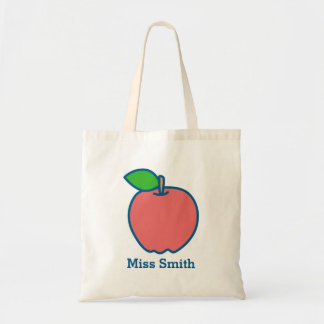 Personalised Red Apple Teacher Tote Bag (Any Name)