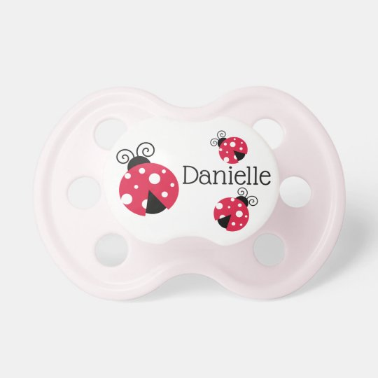 Personalised Red Ladybug Baby Girl Pacifier