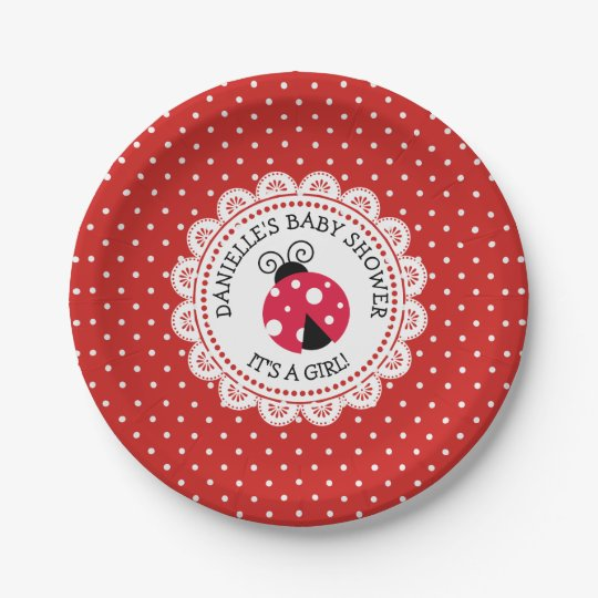 Personalised Red Ladybug Baby Shower Paper Plates