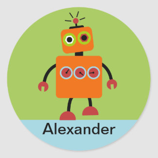 Personalised Robot Name Stickers, Labels, Round Sticker