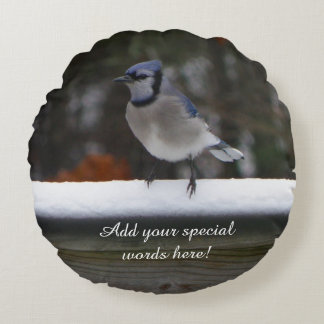 Personalised Round Blue Jay Bird Pillow