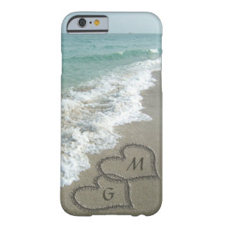 Personalised Sand Hearts on the Beach Barely There iPhone 6 Case