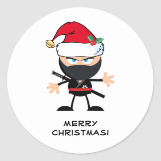Personalised Santa Claus Ninja Warrior Classic Round Sticker