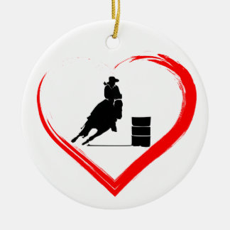 Personalised Silhouette Barrel Racing Horse, Heart Christmas Ornament