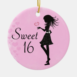 Personalised Silhouette Girl Sweet 16 Ornament