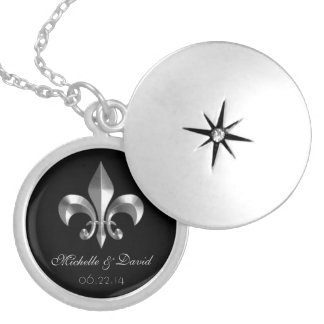 Personalised Silver Fleur de Lis Keepsake Locket Necklace