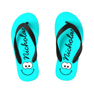 Personalised Smiley Blue Kid's Jandals