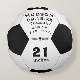 Personalised Soccer Ball Name and Baby Stats Round Cushion