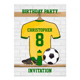 Personalised soccer jersey yellow green custom invitation