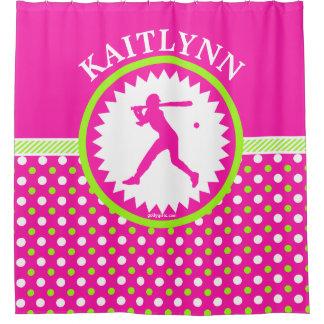 Personalised Softball Pink - Green Polka-Dots Shower Curtain