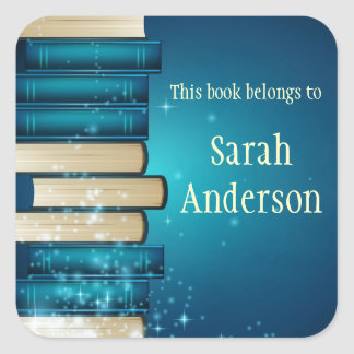 Personalised Stack of Books Bookplate Sticker