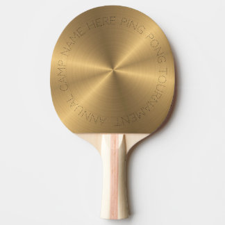 Personalised Stainless Steel Gold Metallic Radial Ping Pong Paddle