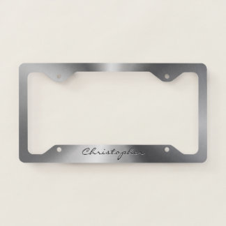 Personalised Stainless Steel Metallic Radial Licence Plate Frame