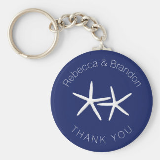 Personalised Starfish Navy Wedding Key Ring Favour Basic Round Button Key Ring