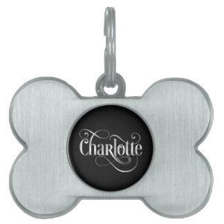 Personalised Swirly Script Charlotte Silv on Black Pet Name Tag
