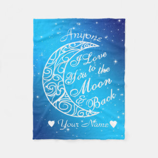 Personalised To The Moon and Back Fleece Blanket