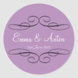 Personalised Violet Filigree Favour  sticker