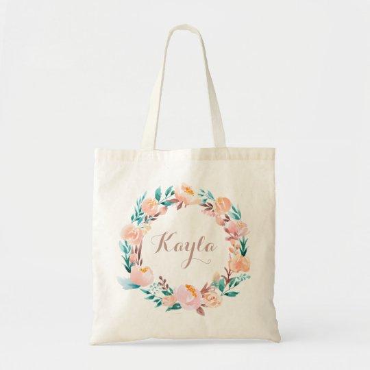 Personalised Watercolor Floral Rose Tote Bag