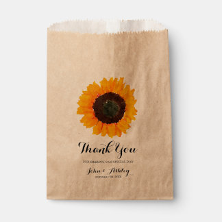 Personalised Watercolor Sunflower Fall Wedding Favour Bags