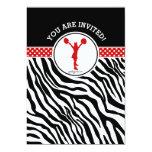 Personalised Zebra Print Cheer or Pom in Red 13 Cm X 18 Cm Invitation Card