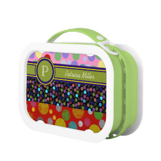 personalizable polka dots monogram lunch box