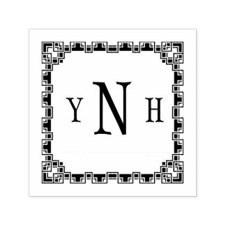 Personalizable with three-letter Monogram Self-inking Stamp