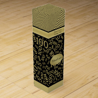 Personalize: 100th Birthday Gold/Black Party Theme Wine Box