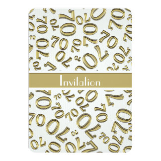 Personalize: 70th Gold and White Birthday Party 13 Cm X 18 Cm Invitation Card