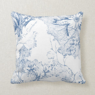 Personalize a Flower Garden Painted Blue Throw Pillow