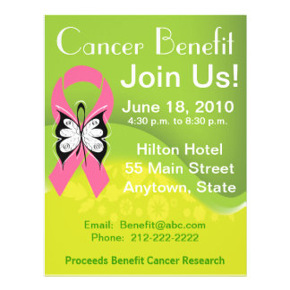 Personalize Breast Cancer Fundraising Benefit 21.5 Cm X 28 Cm Flyer