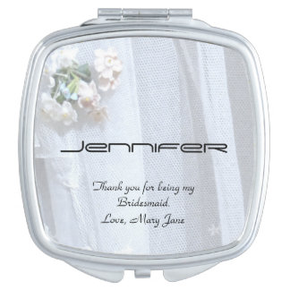 Personalize Bridesmaid Compact Mirror Vintage Lace