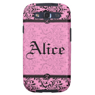 Personalize Chic Pink and Black Victorian Damask Samsung Galaxy S3 Cover