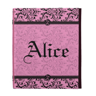 Personalize Chic Pink and Black Victorian Damask iPad Folio Cover