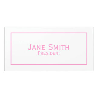 Personalize: Corporate Minimal Pink and White Door Sign