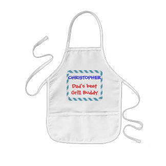 Personalize, Dad's Grill Buddy! Blue Stripes Kids Apron