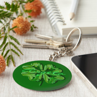 (Personalize)Four Leaf Clover with Name Basic Round Button Key Ring